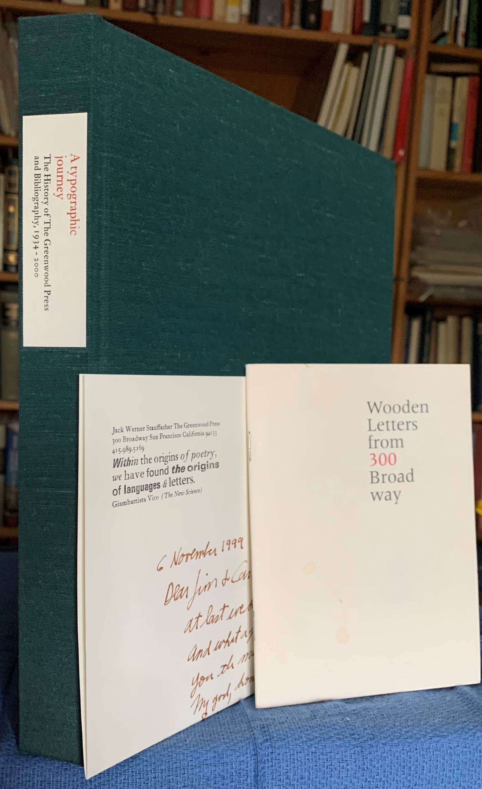 Image for A typographic journey. The History of The Greenwood Press, and Bibliography, 1934-2000 [inscribed, with h.l.s by the author].