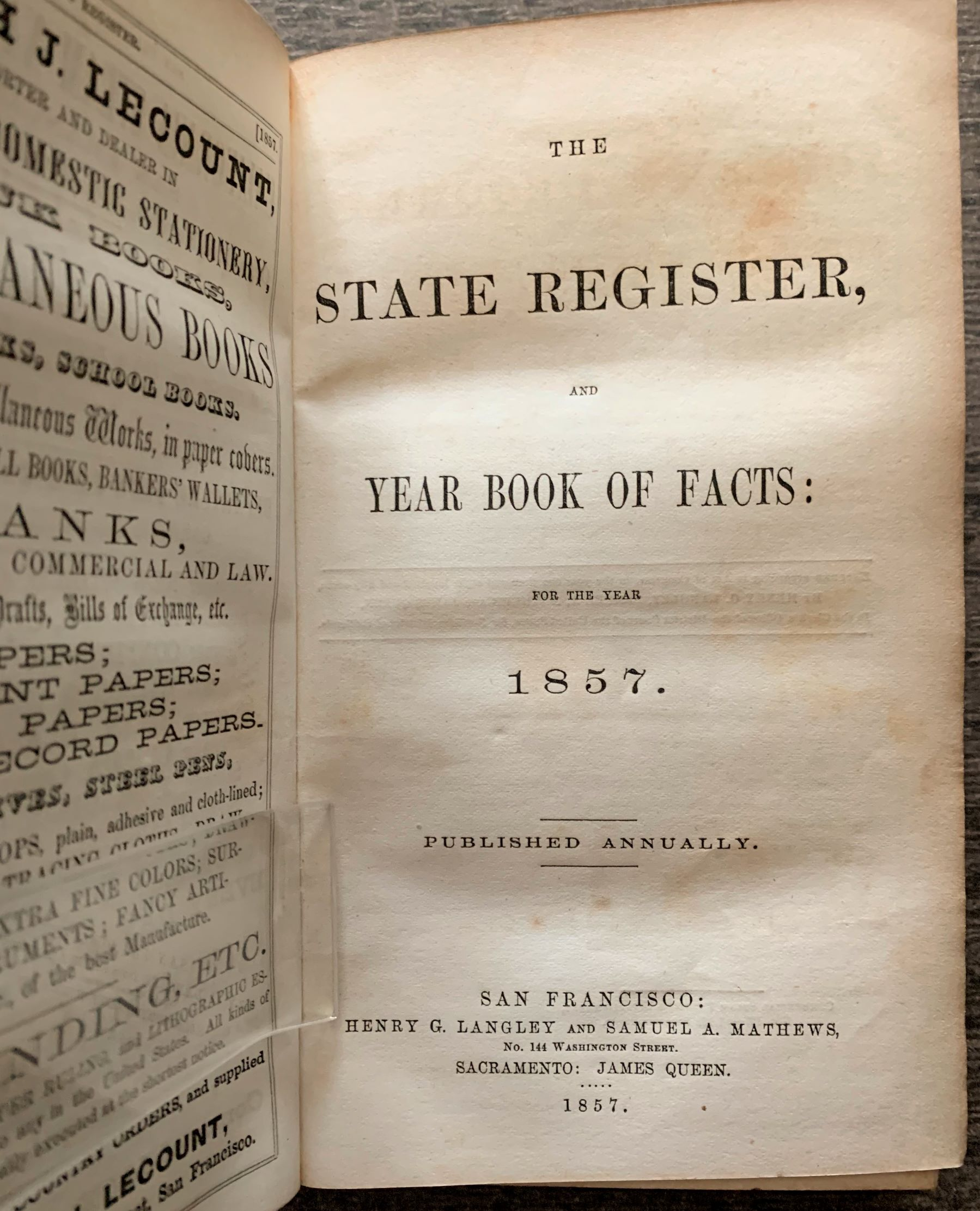 Image for The State Register and Year Book of Facts: For the Year 1857.
