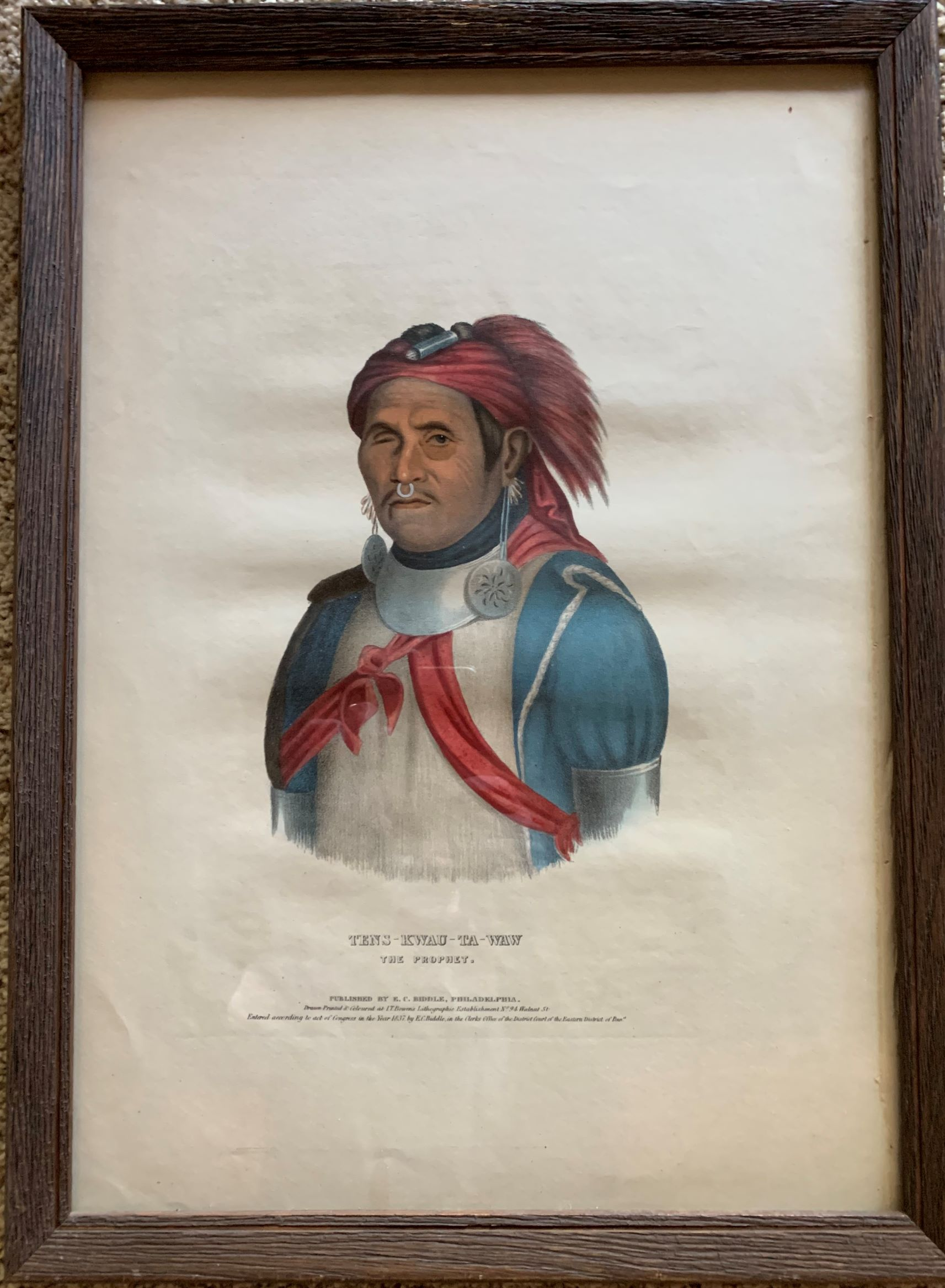 Image for Tens-Kwau-Ta-Wawsk, The Prophet.  Original hand-colored lithographic plate. From the painting by Charles Bird King.