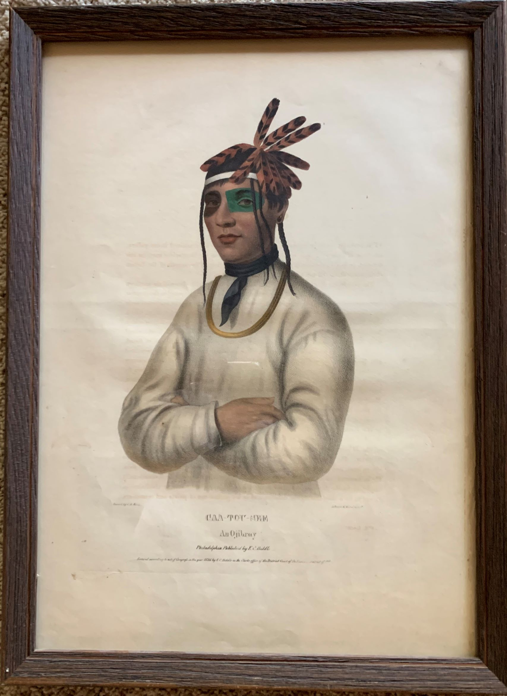 Image for Caa-Tou-See, an Ojibray. (Ojibwe)  Original hand-colored lithographic plate, highlighted with gum arabic. From the painting by Charles Bird King.