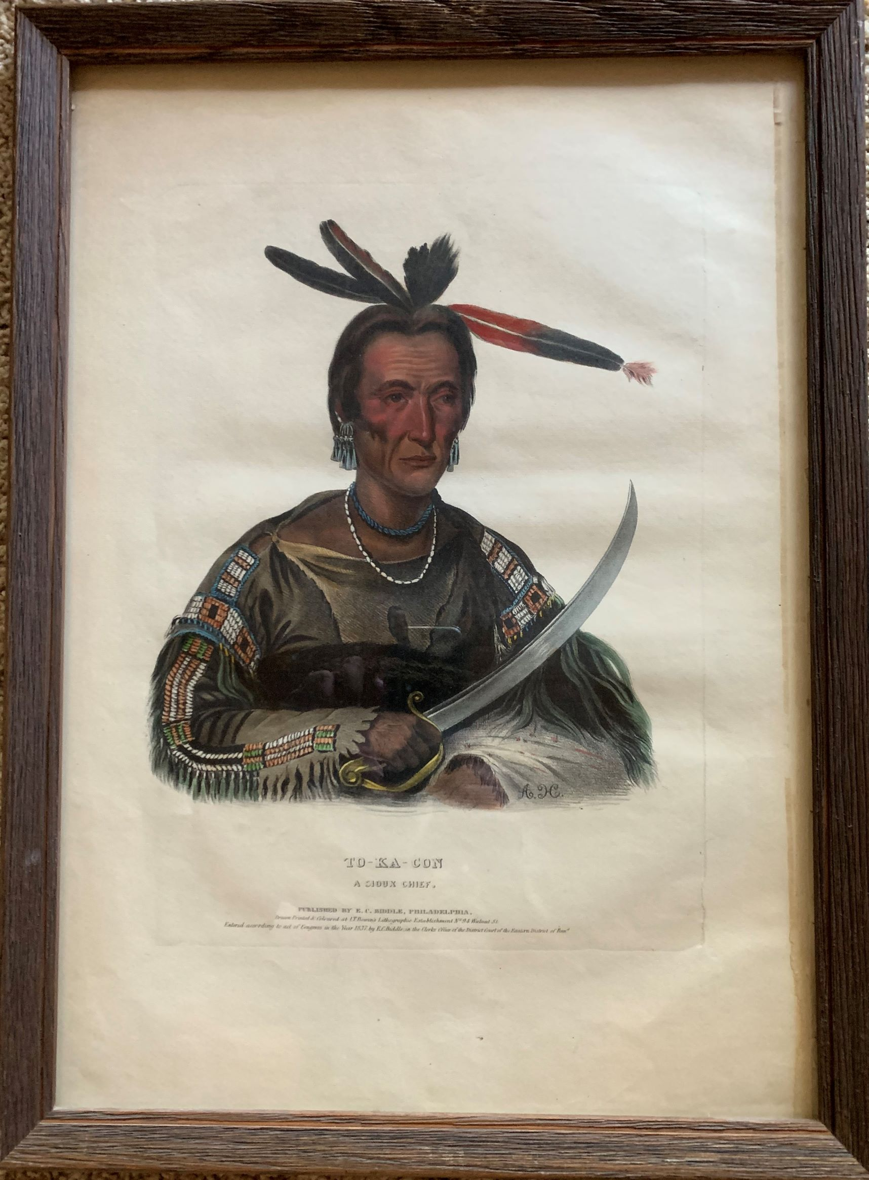 Image for To-Ka-Con, a Sioux Chief.  Original hand-colored lithographic plate, highlighted with gum arabic. From the painting by George Cook.