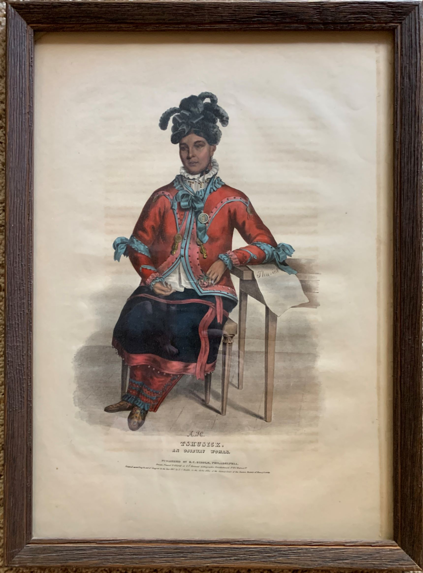 Image for Tshusick, an Ojibway Woman.  Original hand-colored lithographic plate. From the painting by Charles Bird King.