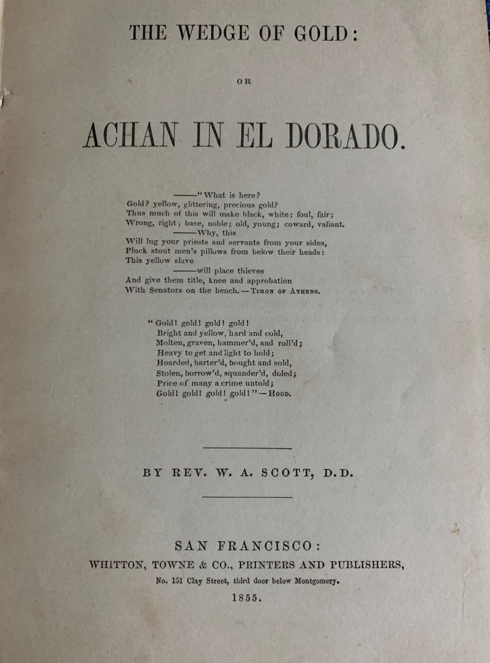 Image for The Wedge of Gold or Achan in El Dorado.