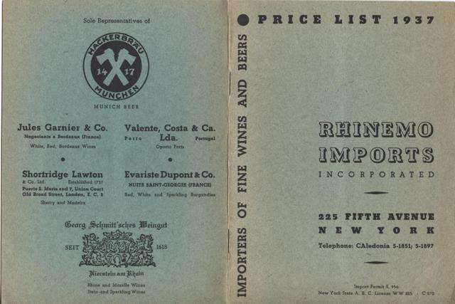 Image for Rhinemo Imports Incorporated, Importers of Fine Wines and Beers, Price List 1937.