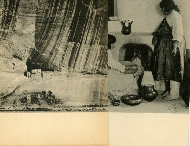 Image for Two Laura Gilpin Postcards: Casa Blanca, Canyon De Chelly, Arizona; and, San Ildefonso Pueblo, Potters.
