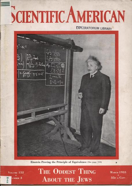 "Image for {4 IITEMS) Scientific American, March 1935; Vol. 152, Number 3 [cover, ""Einstein Proving the Principle of Equivalence""] Together with: The World as I See It; Relativity, the Special and General Theory, a popular exposition; Out of My Later Years."