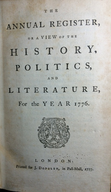 Image for The Annual Register, or a View of the History, Politics, and Literature for the year 1776.