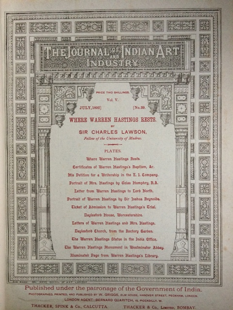 Image for The Journal of Indian History, Vol. V., July, 1892, No. 39. Where Warren Hastings Rests. (with original trial tickets bound in).