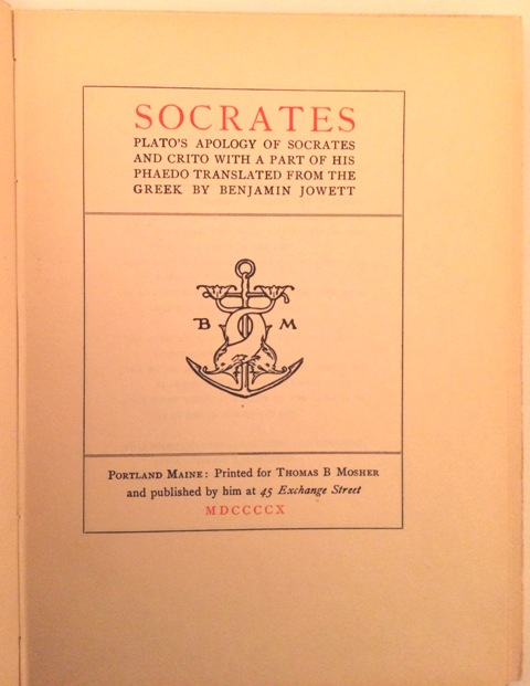 Image for Plato's Apology of Socrates and Crito With a Part of His Phaedo Translated from the Greek.