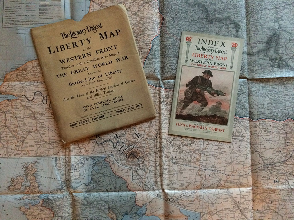 Image for The Literary Digest Liberty Map of the Western Front, Together with a Complete Area Map of The Great World War, Showing the Battle-Line of Liberty As It Stood April 15, 1918. Also the Lines of the Farthest Invasions of German and Allied Territory. With complete index of over 11,000 names.