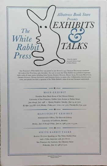 Image for [Poster] The White Rabbit Press : Albatross Book Store presents exhibits & talks. Together with: a printed, unfolded program of the exhibits and talks.