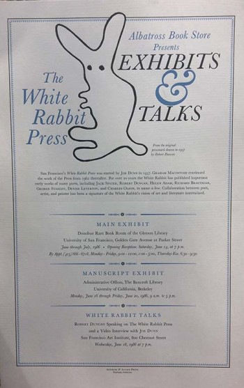 Image for [Poster] The White Rabbit Press : Albatross Book Store presents exhibits & talks.