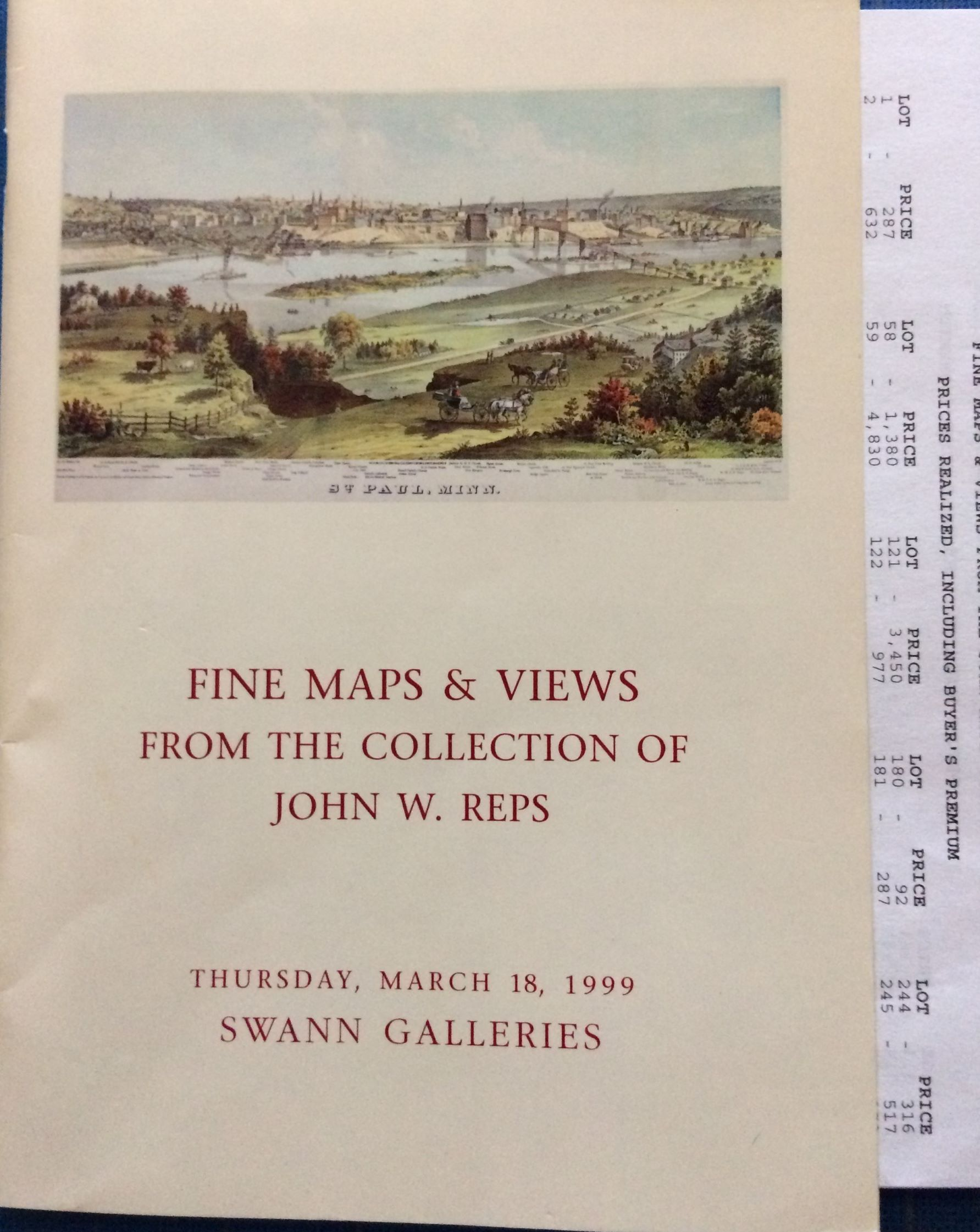 Image for Fine Maps & Views from the Collection of John W. Reps.  (With prices realized laid in)