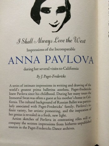 Image for [Prospectus] I Shall Always Love the West. Impressions of the Incomparable Anna Pavlova during her several visits to California.