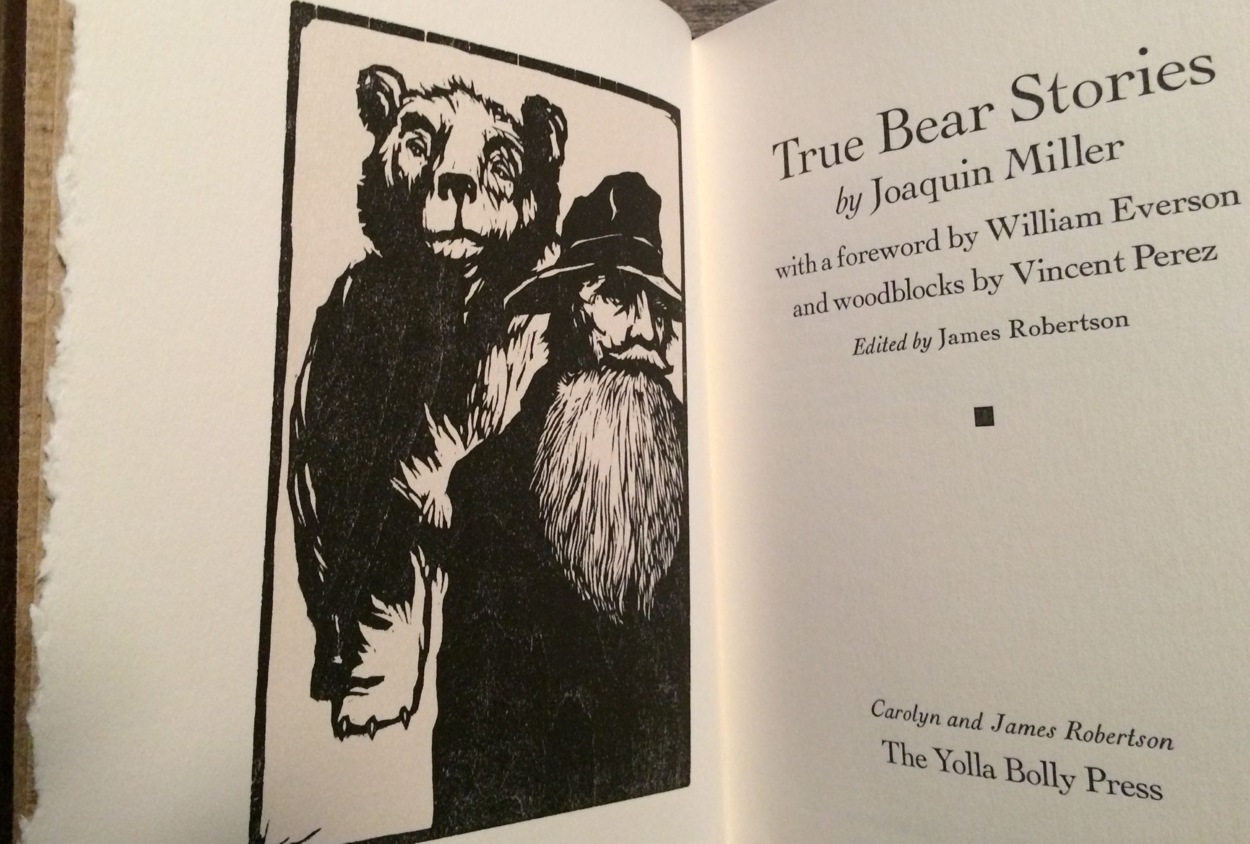 Image for True Bear Stories. With a Foreword by William Everson and woodblocks by Vincent Perez. Edited by James Robertson.