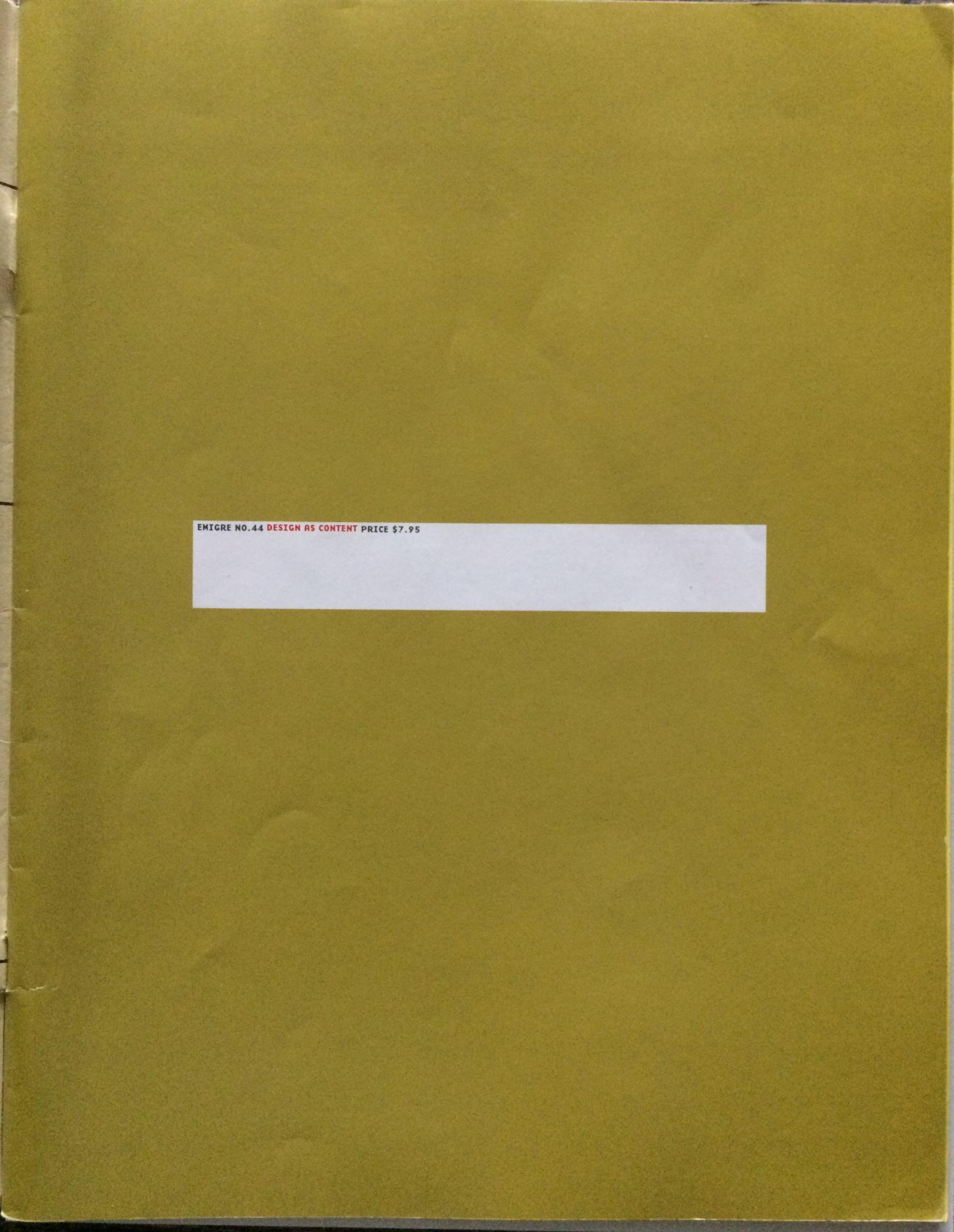Emigre 44. Design as Content. (Fall 1997).