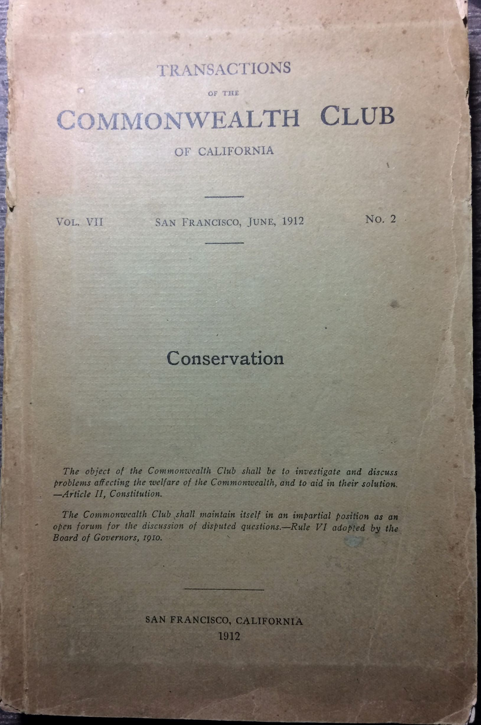 Image for Transactions of the Commonwealth Club of California. Vol. VII, No. 2; Conservation.
