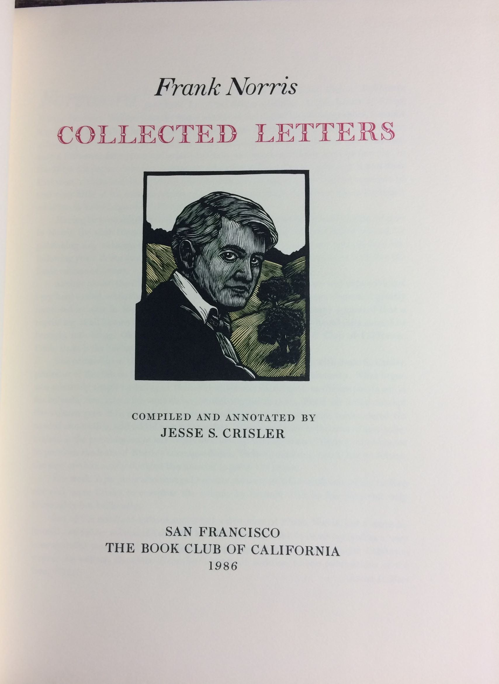 Image for Frank Norris, Collected Letters  Compiled and Annotated by Jesse S. Crisler