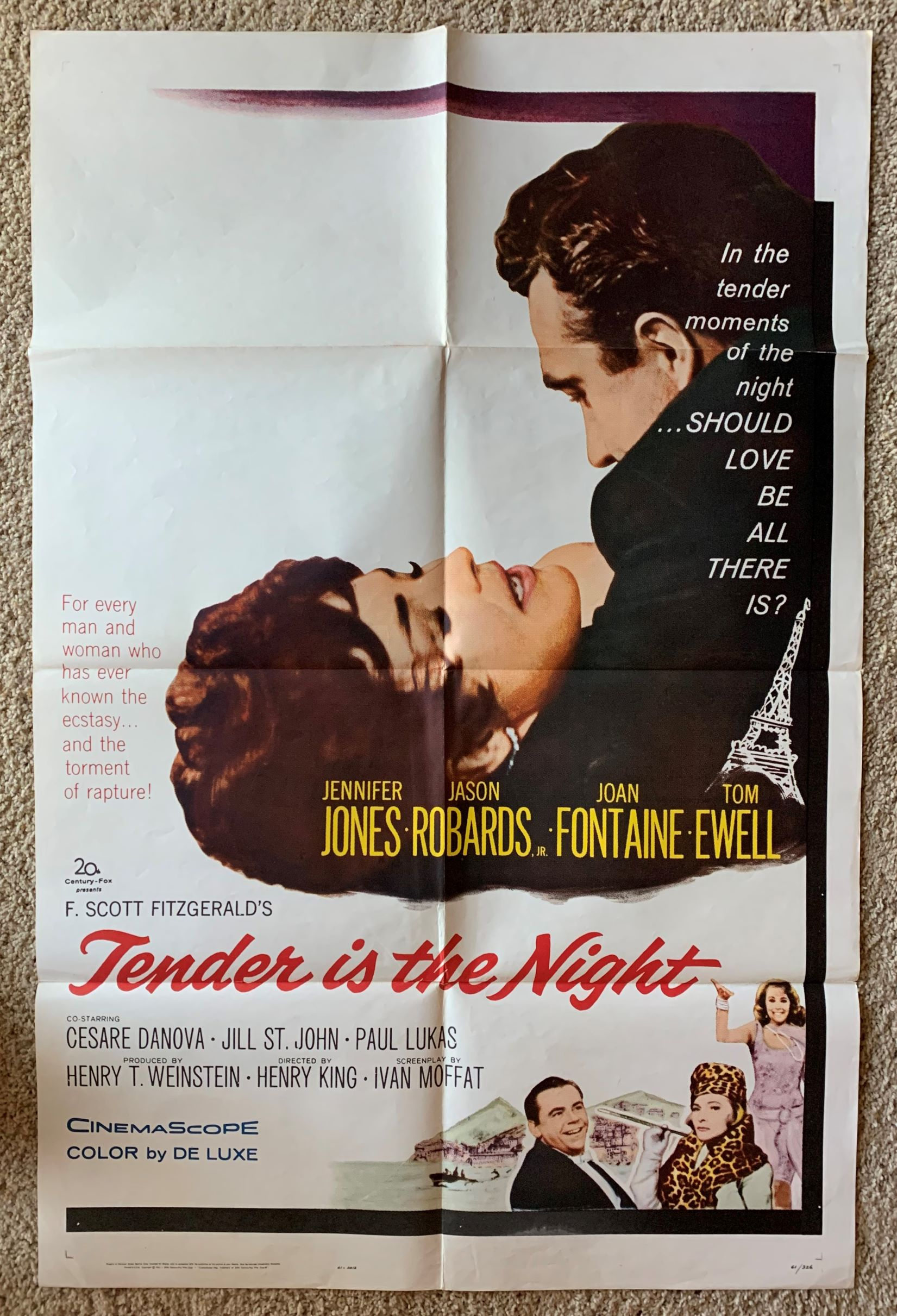 Image for [Movie Poster] Tender is the Night.  Starring Jennifer Jones, Jason Robards, Joan Fontaine, Tom Ewell.