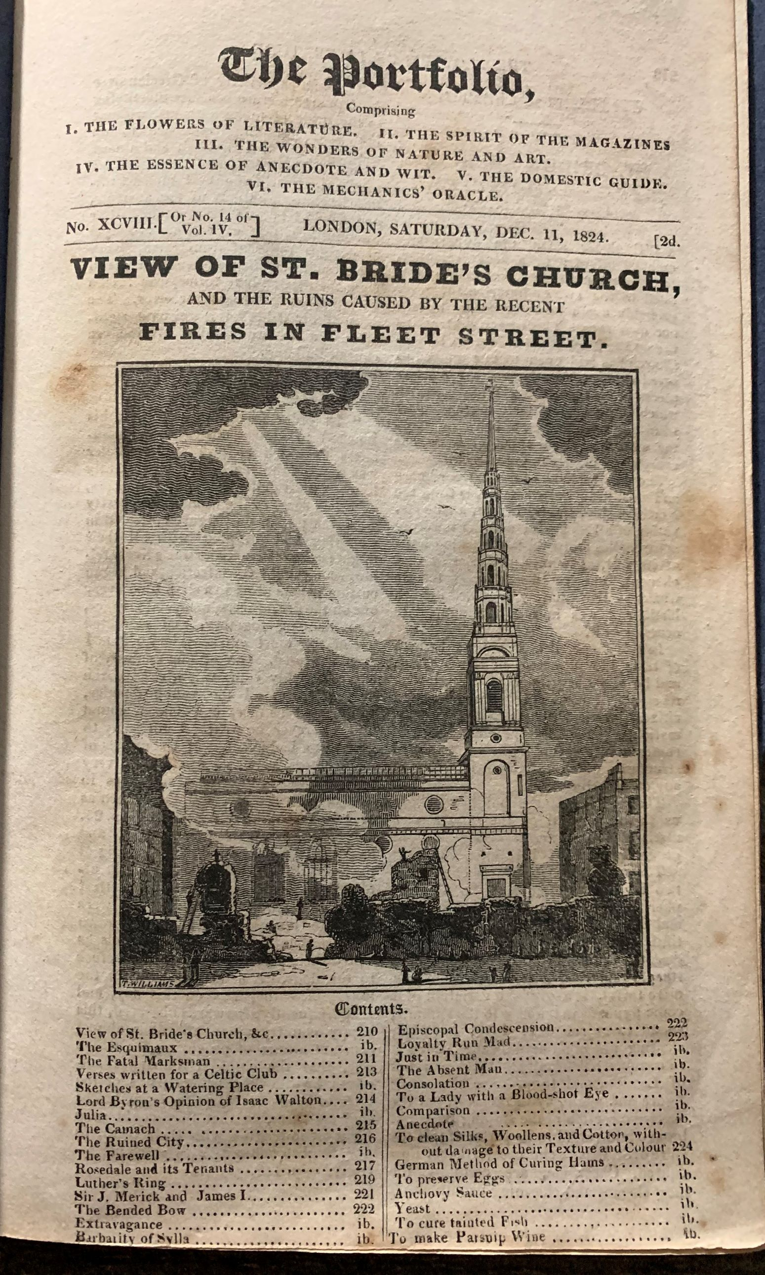 Image for The Portfolio. View of St. Bride's Church, and the Ruins Caused by the Recent Fires in Fleet Street.  No. XCVIII [or No. 113 of Vol. IV]; Saturday, Dec. 11, 1824.