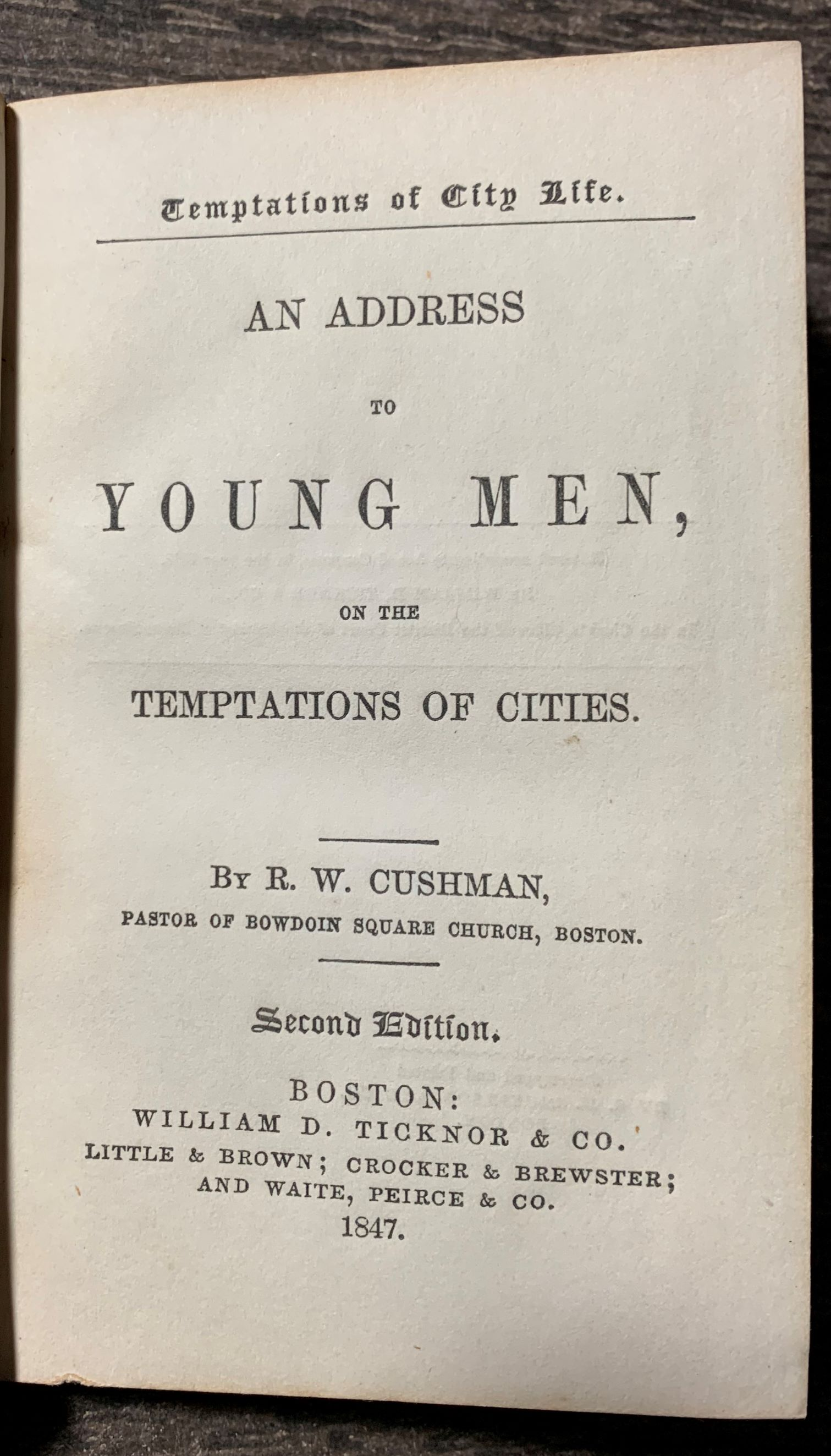 Image for An Address to Young Men on the Temptations of Cities.