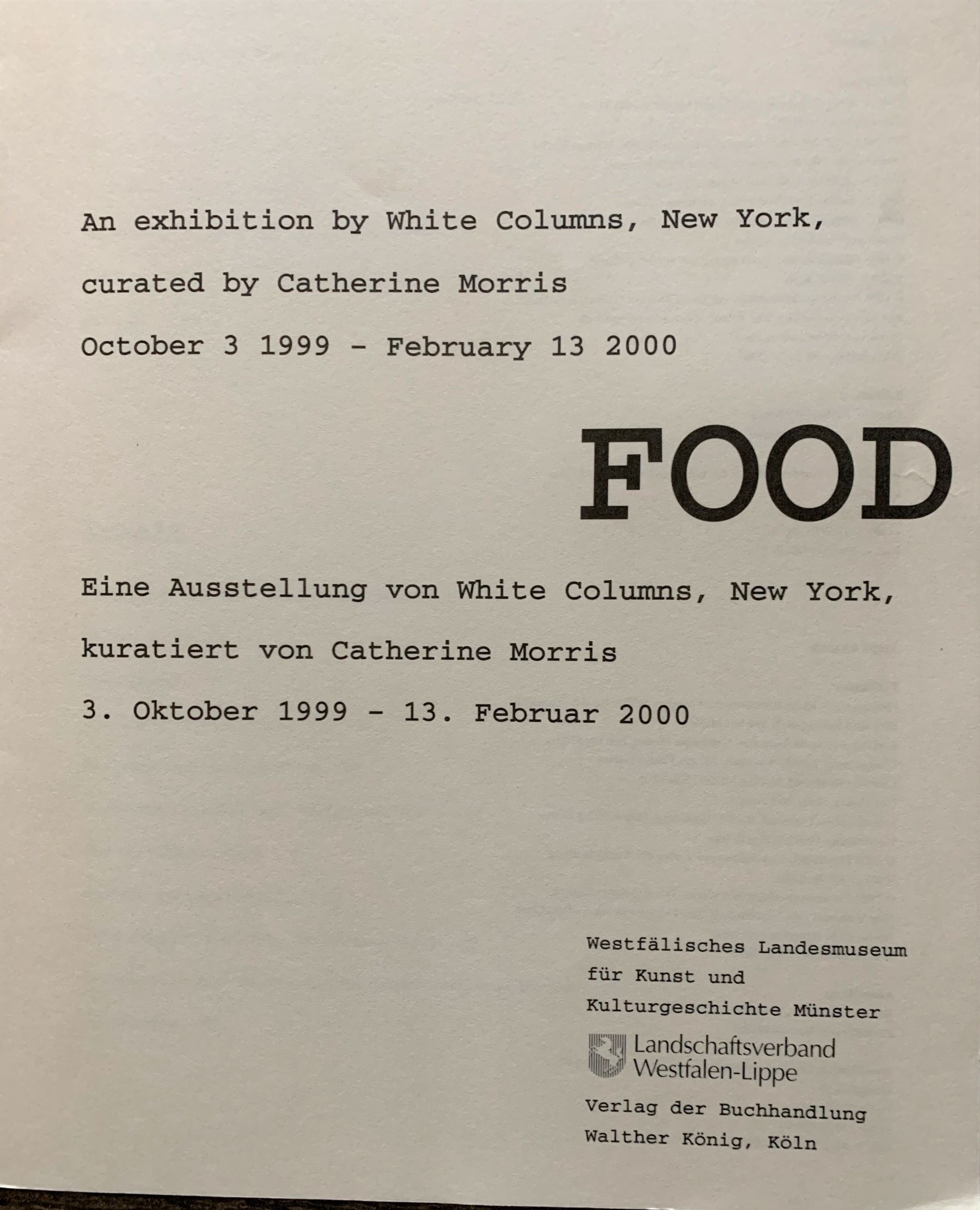 Image for Food : An Exhibition by White Columns, New York.