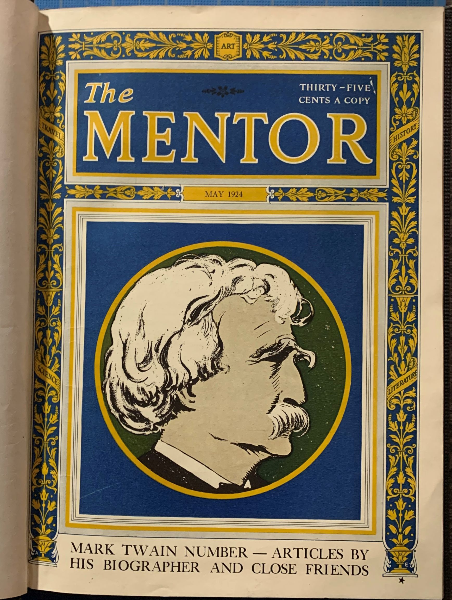 Image for The Mentor, May 1924. Mark Twain Number -  Articles by His Biographer and Friends. (with addes articles bound in).