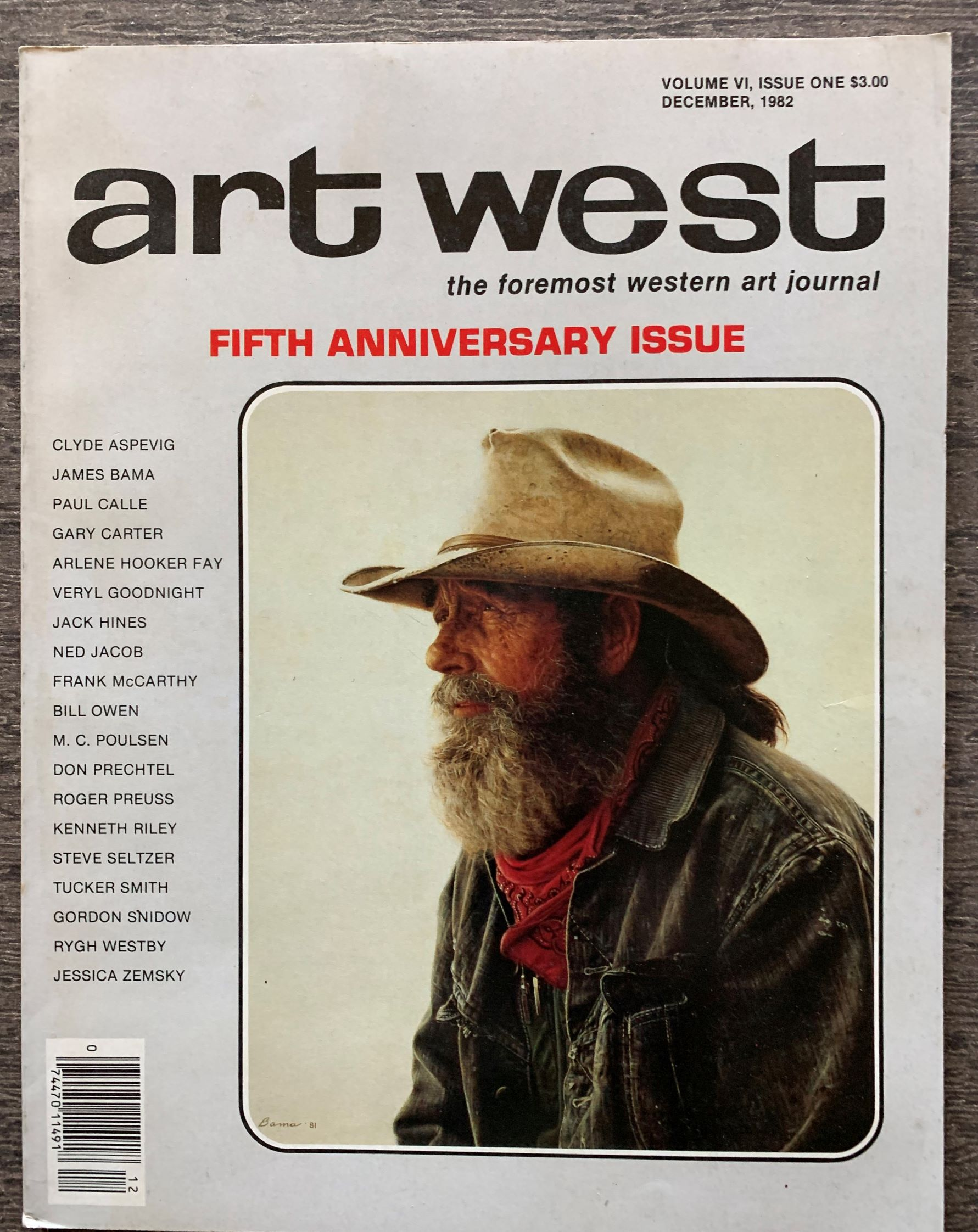 Image for art west, the formost western art journal, FIFTH ANNIVERSARY ISSUE; volume VI, issue one, December, 1982.