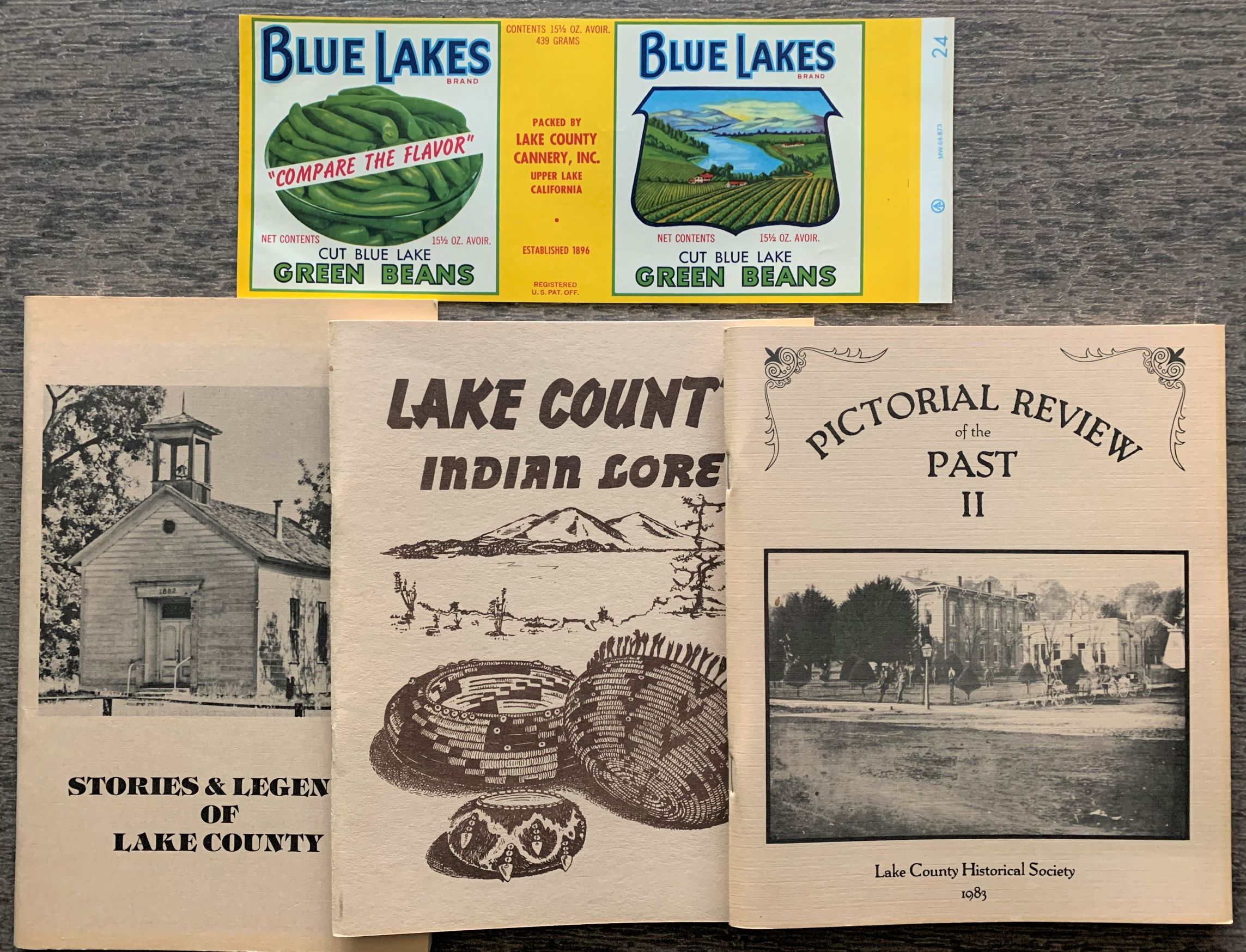 Image for [4 Items] Lake County Indian Lore; Stories & Legends of Lake County; Pictorial Review of the Past II; Color Label for Blue Lakes Green Beans.