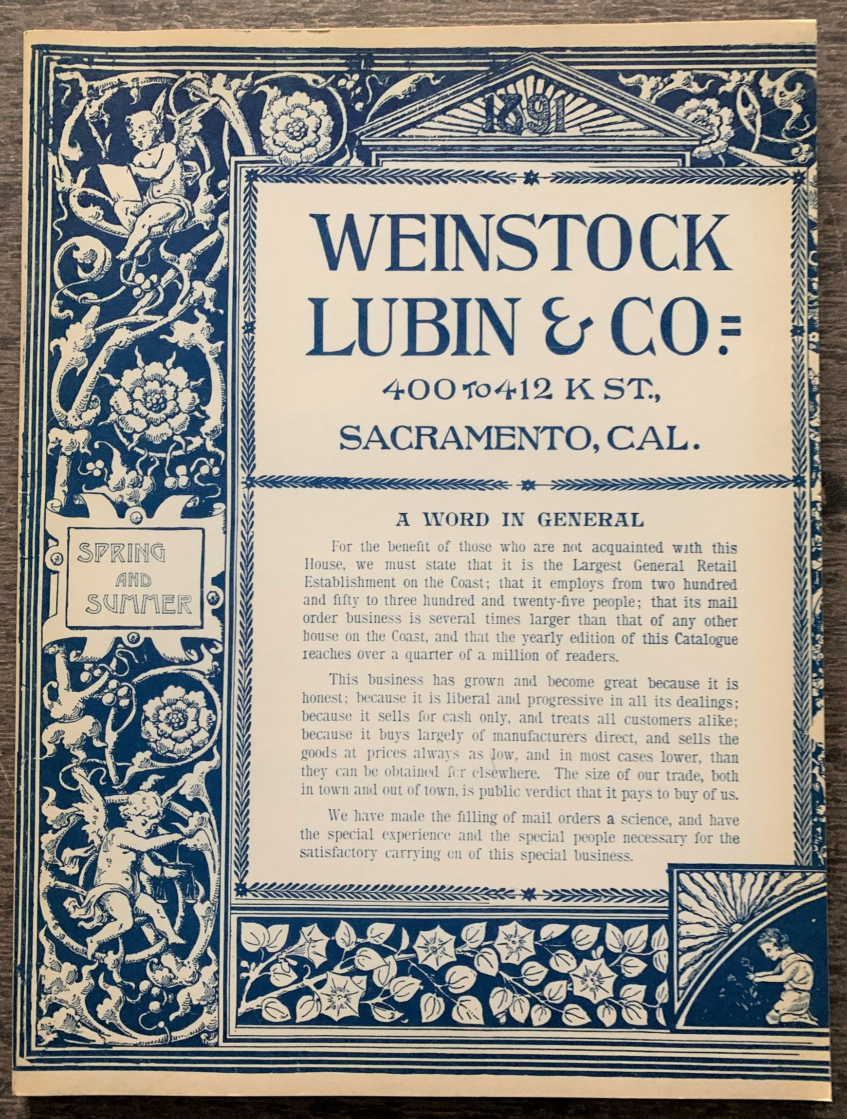 Image for 1891 Edition of, The Weinstock Lubin Co. Catalog.  Introduction by James E. Henley, Kathryn Gaeddert Teichroew.