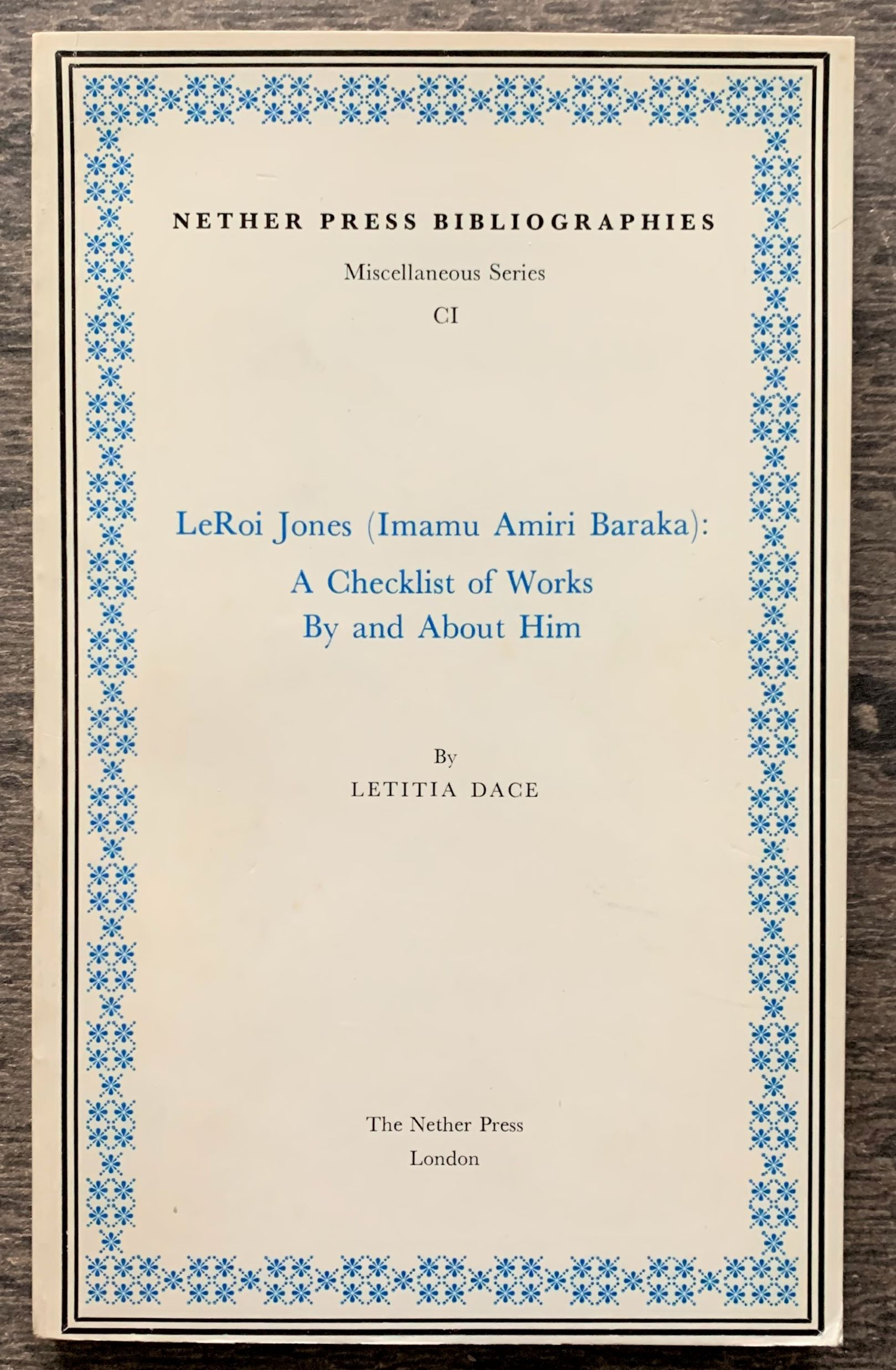 Image for LeRoi Jones (Imamu Amiri Baraka): A Checklist of Works By and About Him.