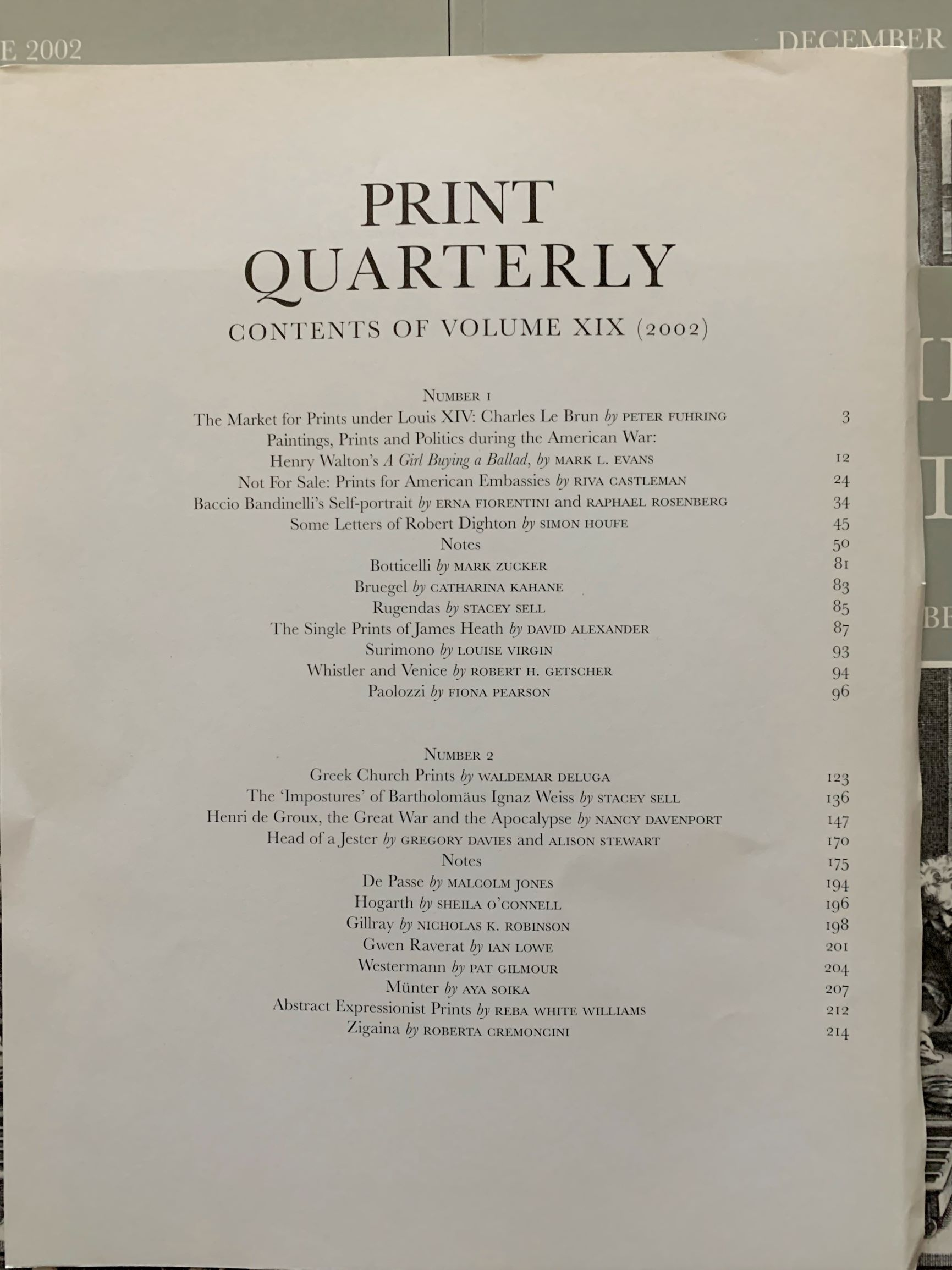 Image for Print Quarterly, Volume XIX, Numbers 1-4 [4 Volumes, complete for the year 2002].