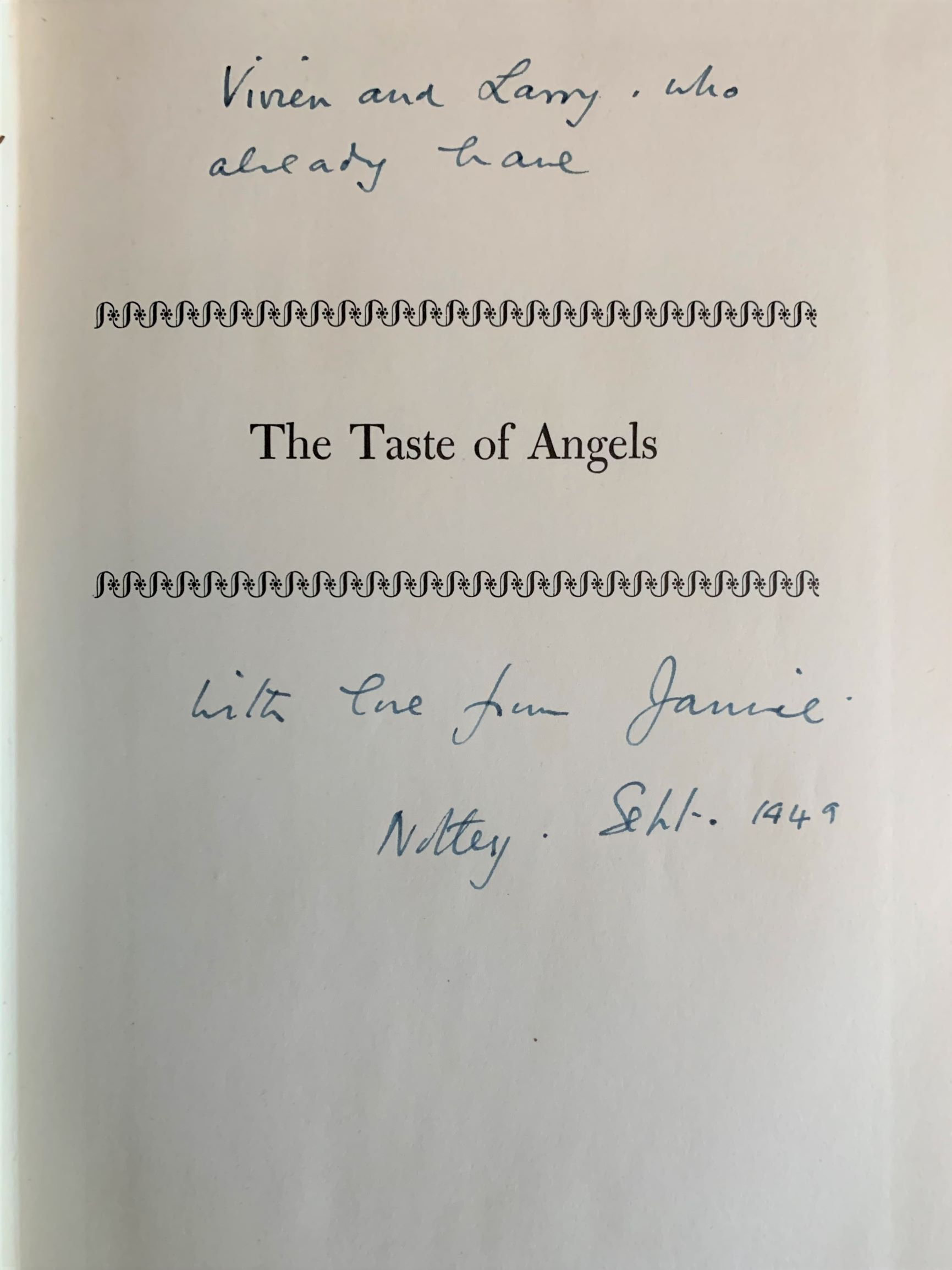 Image for The Taste of Angels, A History of Art Collecting from Rameses to Napoleon. [inscribed by Jamie Hamilton to Vivien Leigh and Laurence Olivier at Notley].